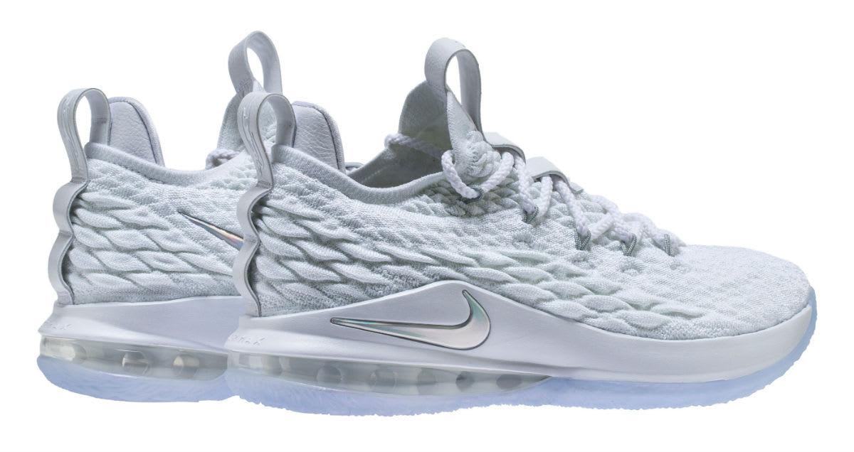 Nike LeBron 15 Low White Metallic Silver Release Date AO1755-100 Back