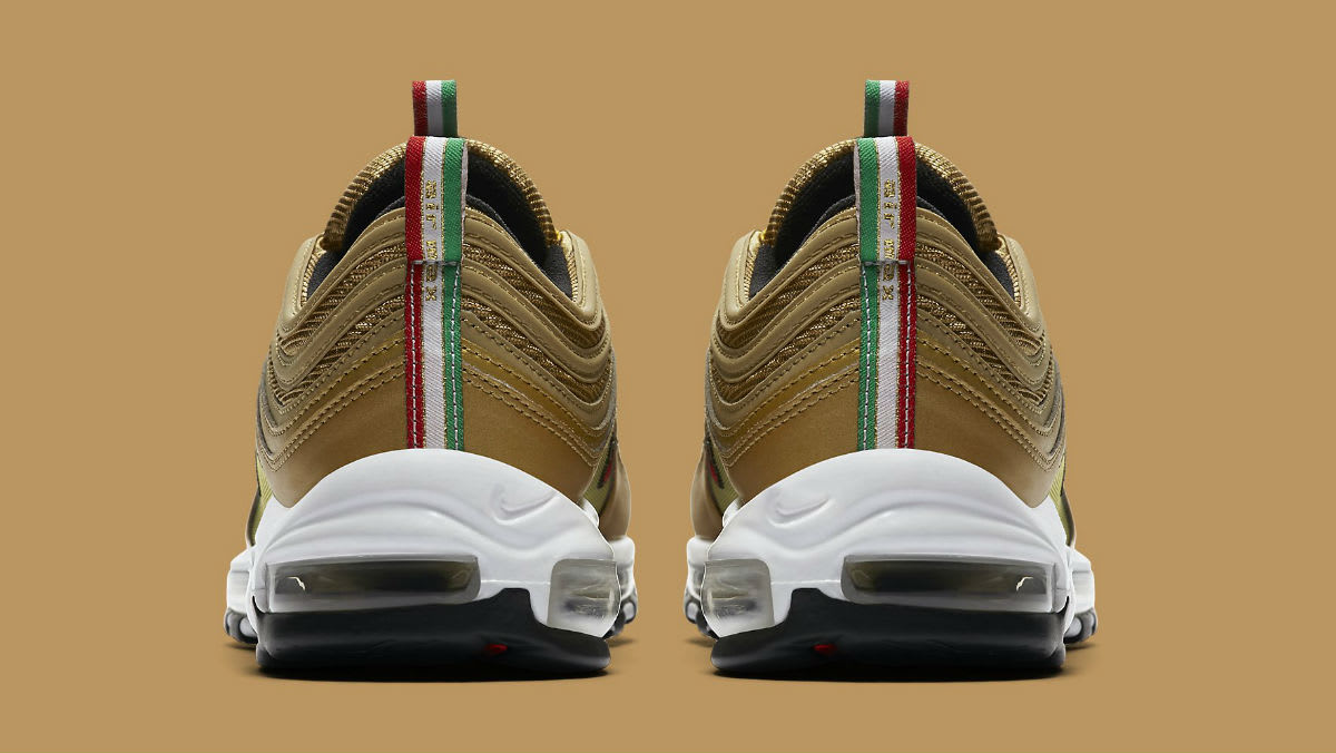 Nike Air Max 97 Italy Flag Gold Release Date AJ8056-700 Heel