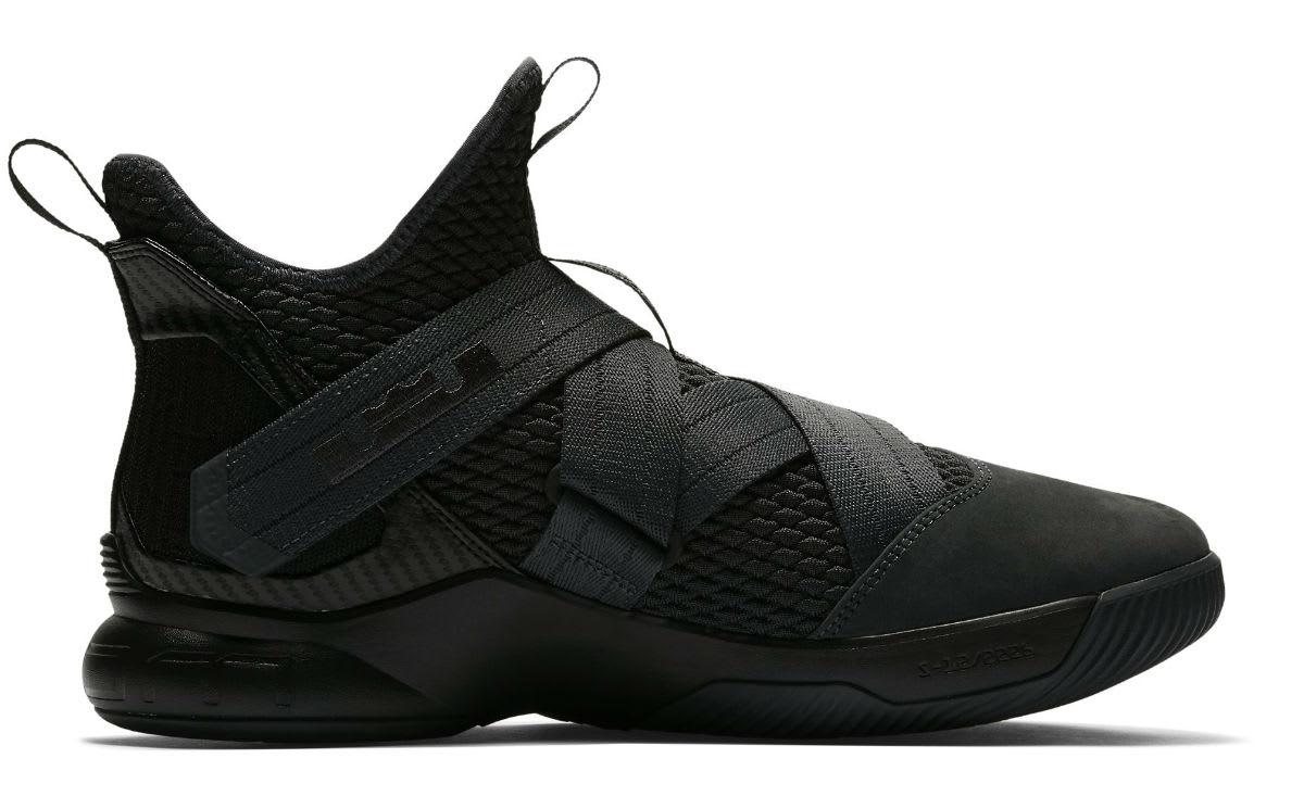 Nike LeBron Soldier 12 XII Zero Dark Thirty Triple Black Release Date AO4054-002 Medial