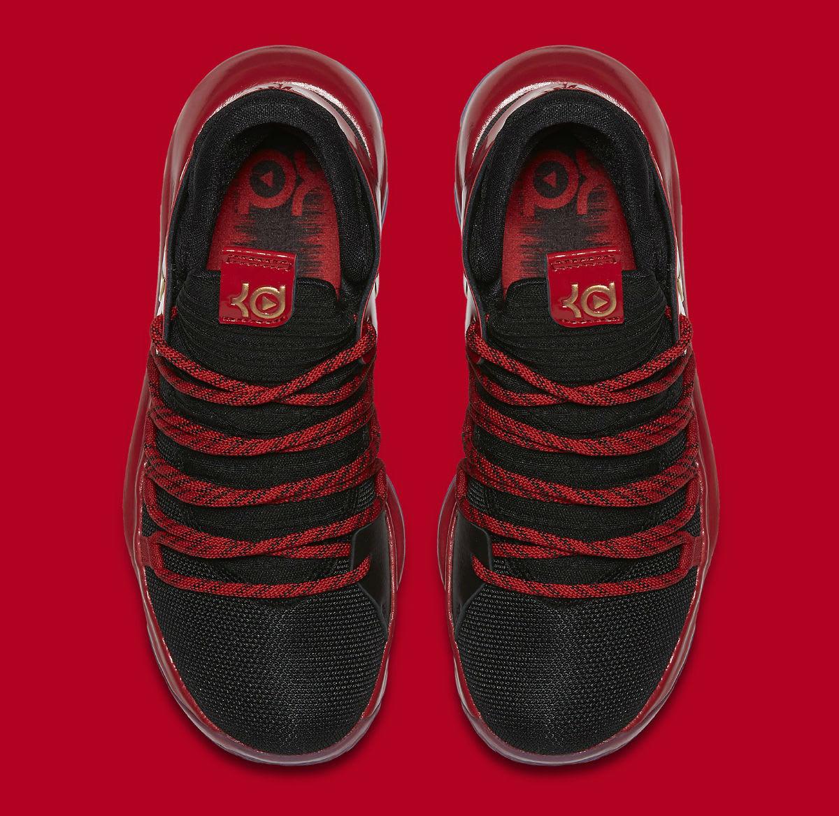Nike KD 10 LE GS Black Metallic Gold University Red Bright Crimson Release Date AJ7220-076 Top