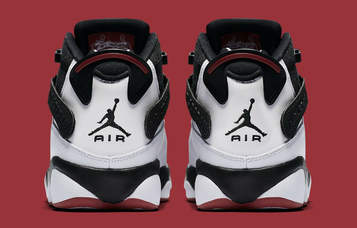 Jordan 6 Rings 2017 White Black Red Release Date Heel 322992-012