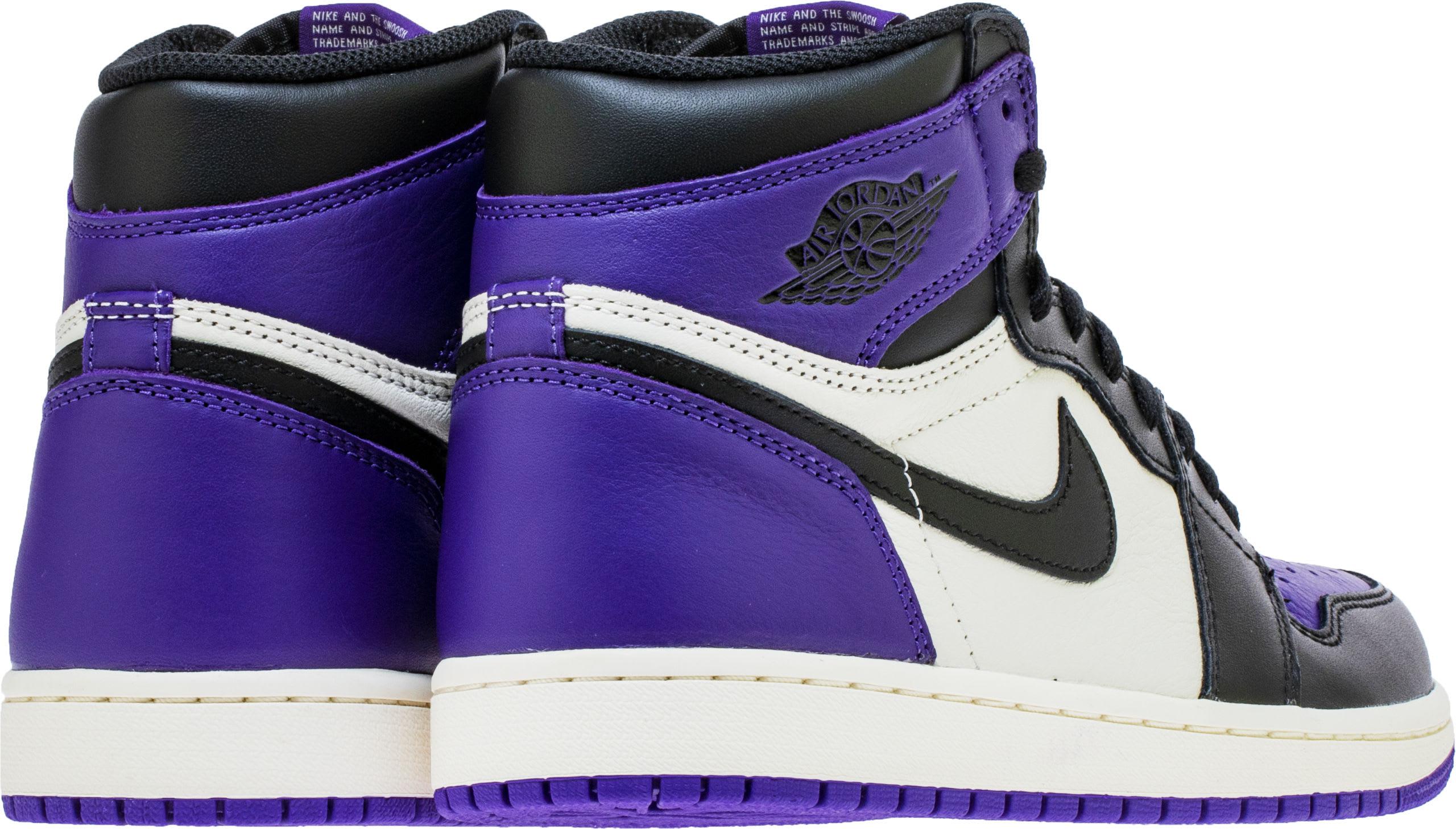 hot sale online c2119 88993 Image via Shoe Palace Air Jordan 1 High OG  Court Purple  555088-501 (Heel)