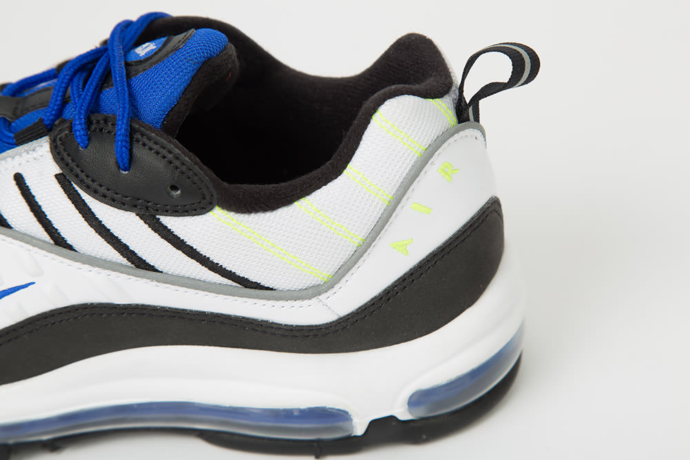 Nike Air Max 98 'White/Black/Racer Blue/Volt' 640744-103 (Heel)