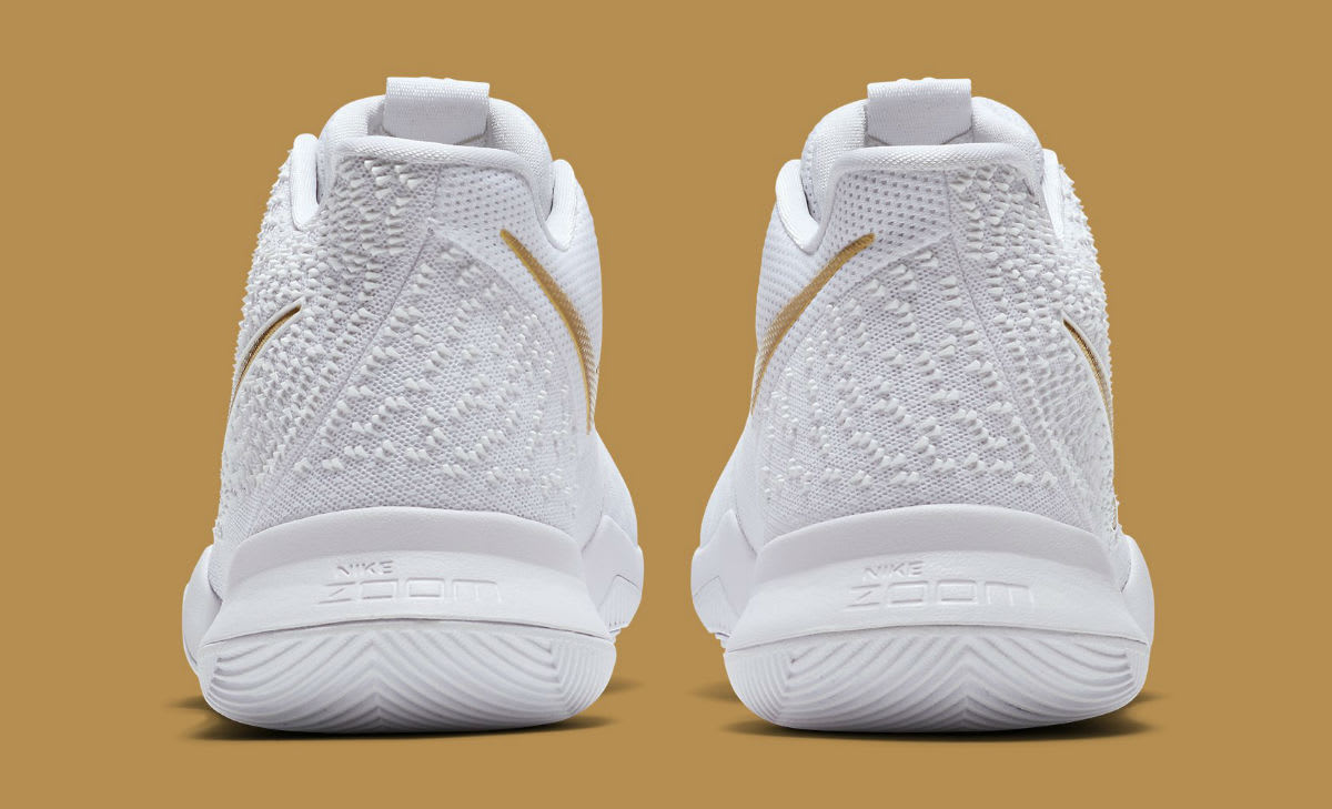 Nike Kyrie 3 White/Gold Release Date Heel 852396-902