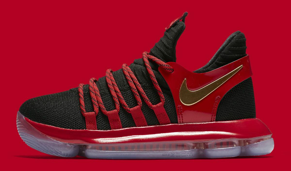 Nike KD 10 LE GS Black Metallic Gold University Red Bright Crimson Release Date AJ7220-076 Profile