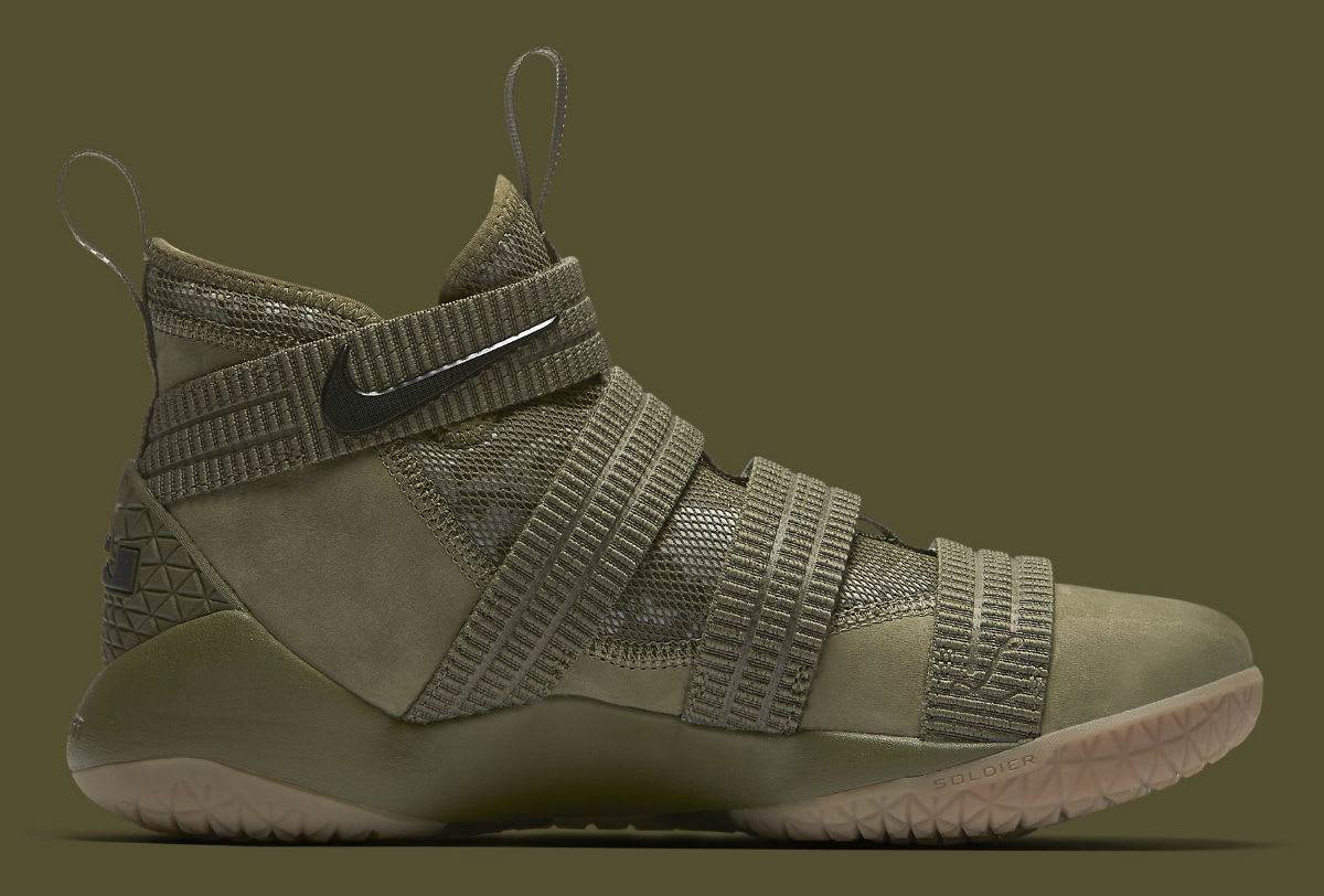 1c301ddf577 ... Picked Up Nike LeBron Soldier 11 SFG Olive Release Date Medial 897646- 200 ...