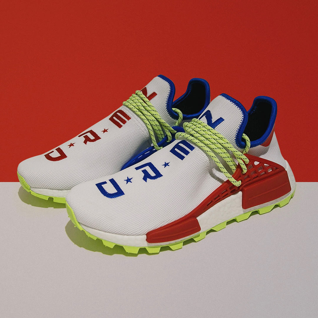 Pharrell x Adidas NMD Hu NERD White Red Blue Release Date Front