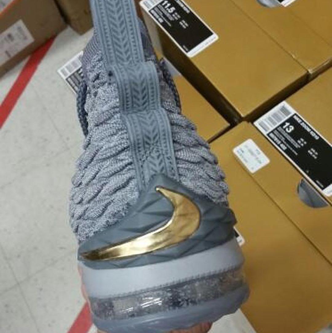 Nike LeBron 15 Grey Gold Release Date 897648-005 Heel