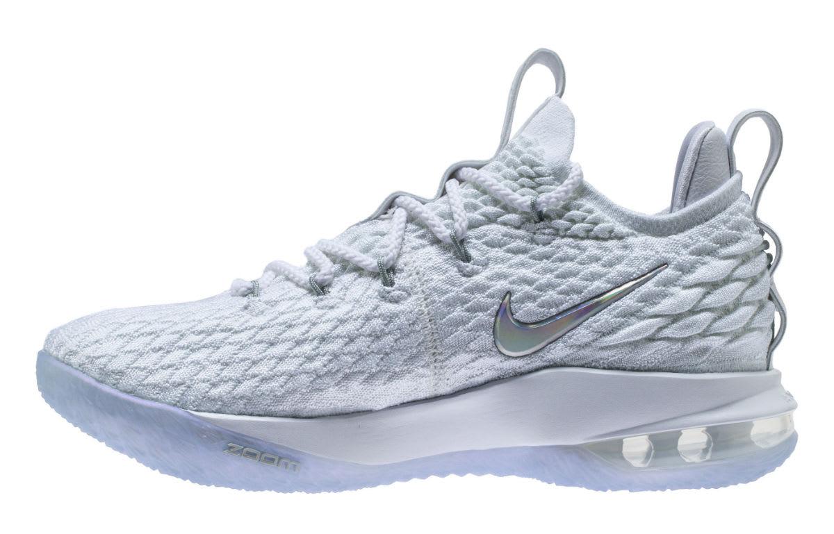Nike LeBron 15 Low White Metallic Silver Release Date AO1755-100 Medial