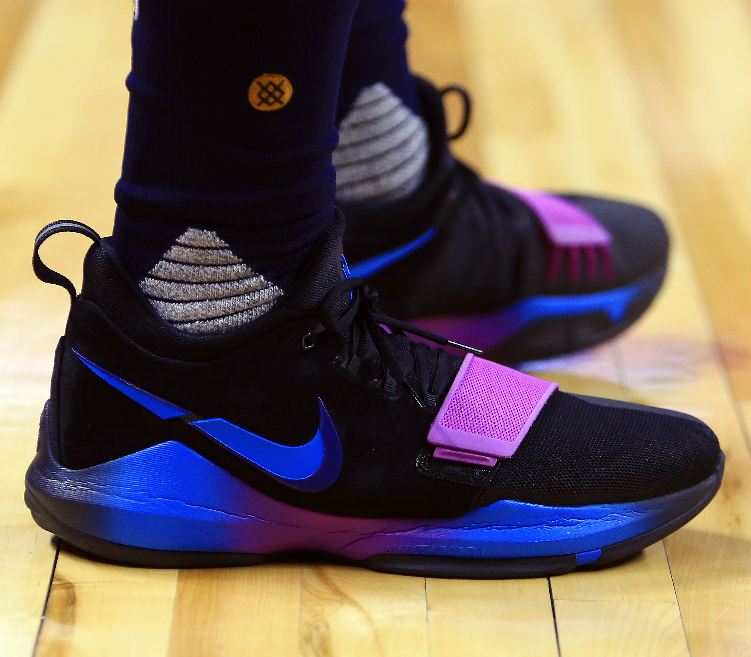 Paul George Nike PG1 Black Blue Purple On-Foot