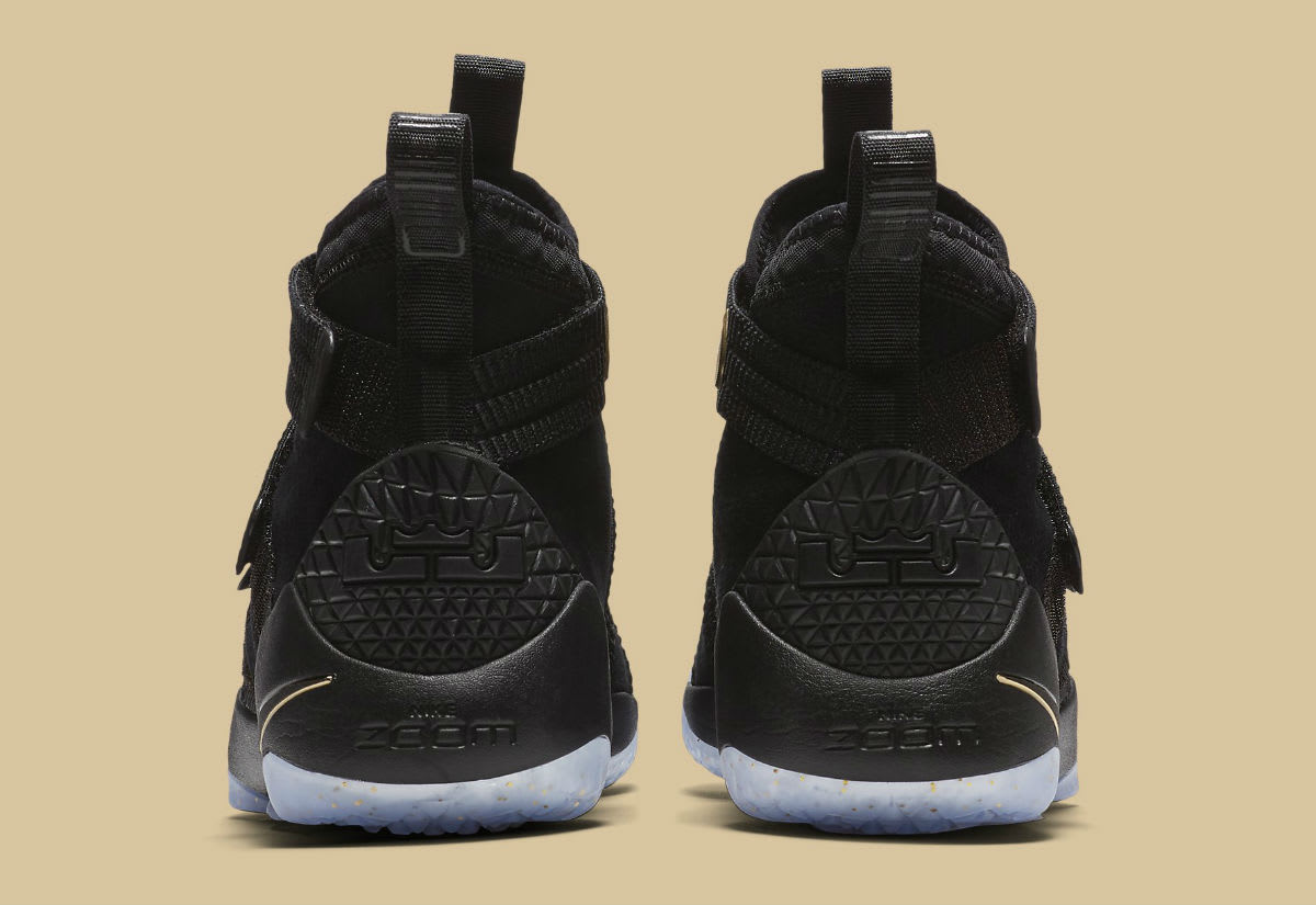 Nike LeBron Soldier 11 SFG Black/Gold Finals Release Date Heel