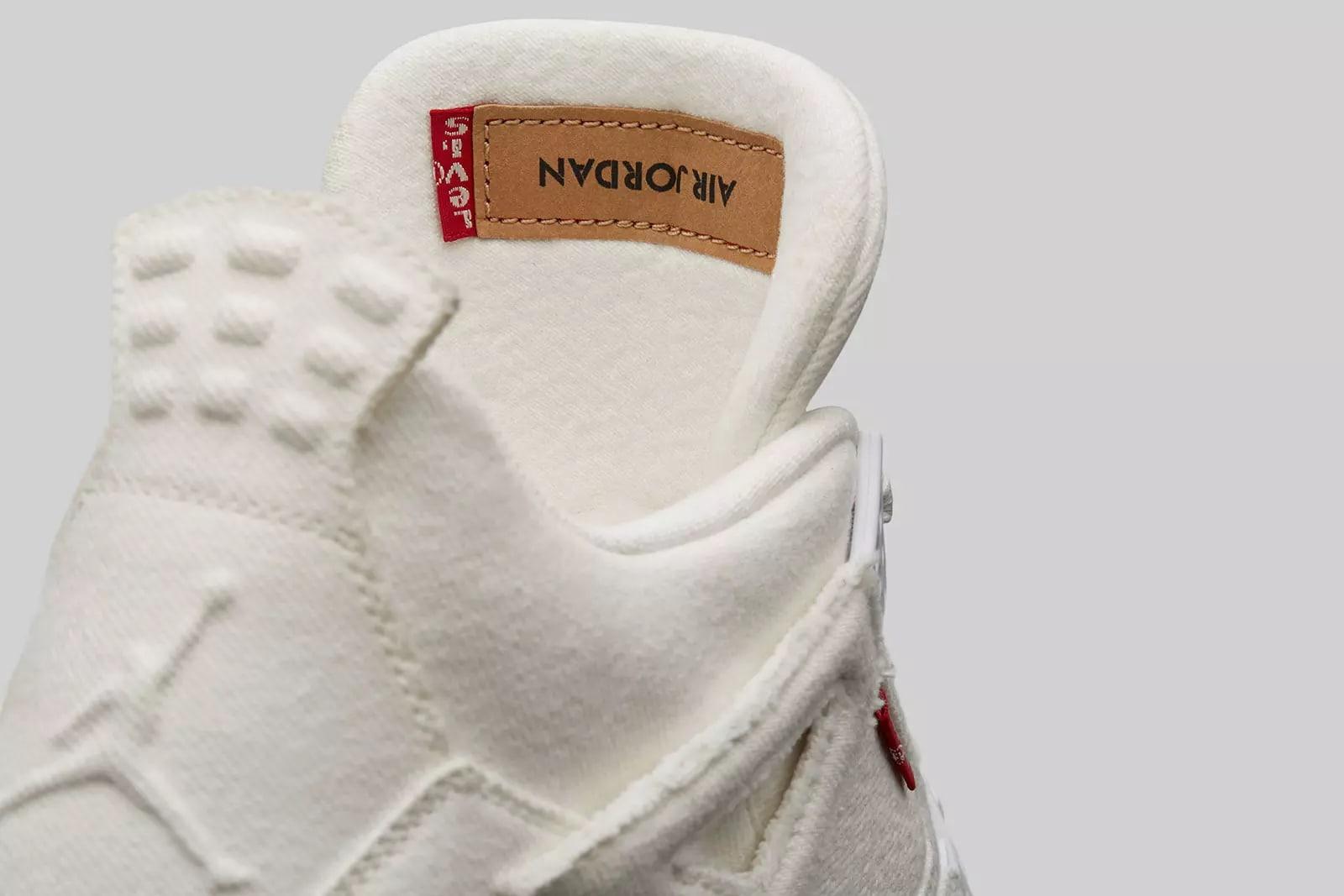 Levi's x Air Jordan 4 'White' AO2571-100 (Tongue)
