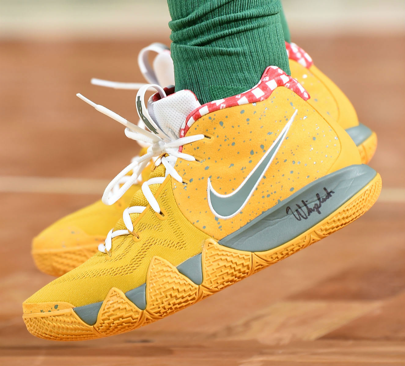 Kyrie Irving Nike Kyrie 4 Yellow Lobster PE On-Foot