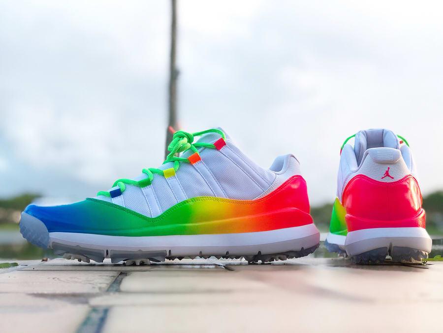 Ray Allen Air Jordan 11 Rainbow Golf Shoes