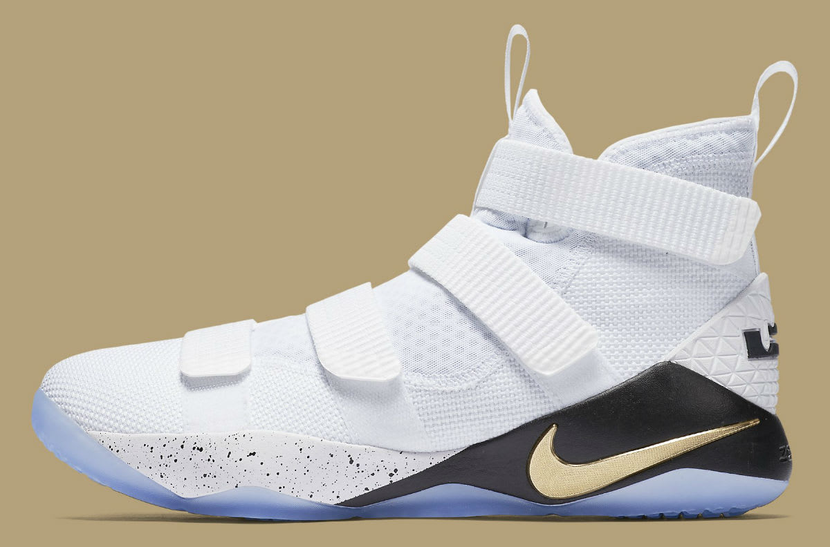 Nike LeBron Soldier 11 White Gold Black Release Date Profile 897644-101