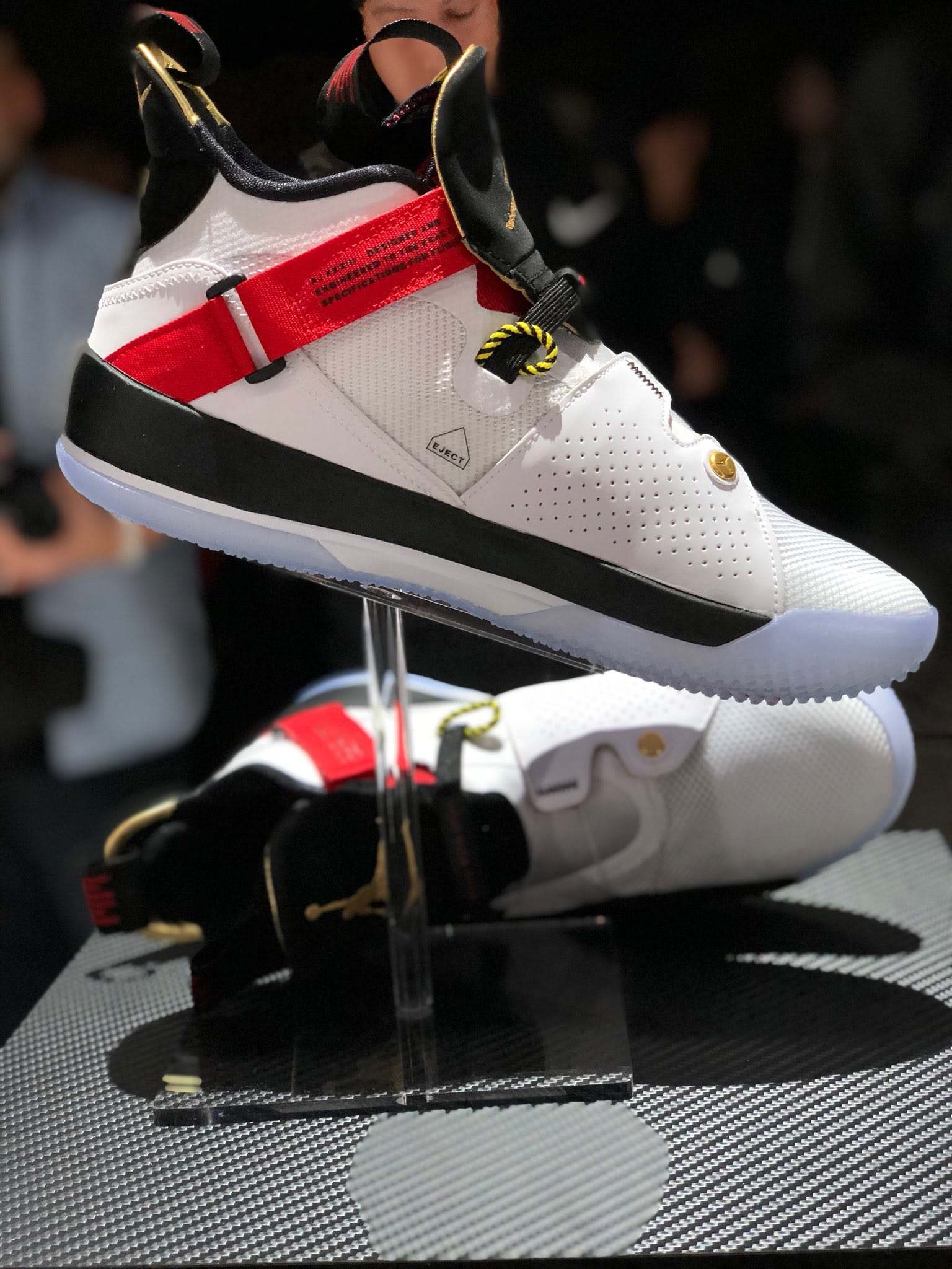 best service 43c2c 6b961 Image via Gerald Flores Air Jordan 33 White Black Red Launch Release Date  Medial