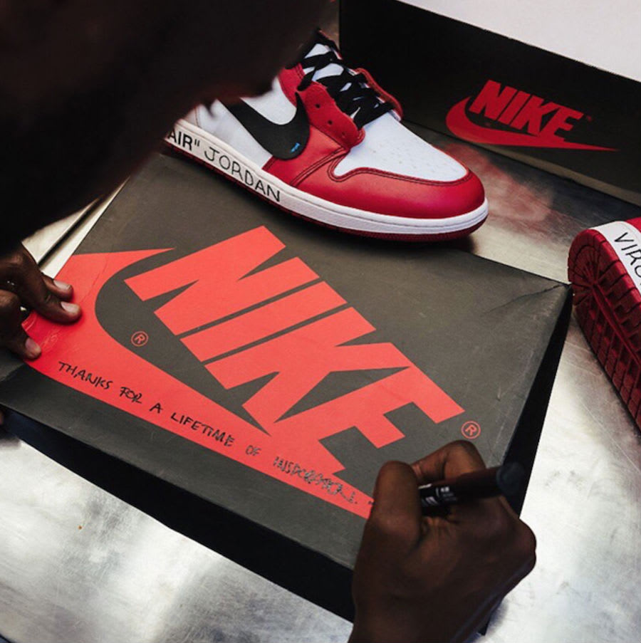 Virgil Abloh Signs Off-White x Air Jordan 1 for Michael Jordan Box