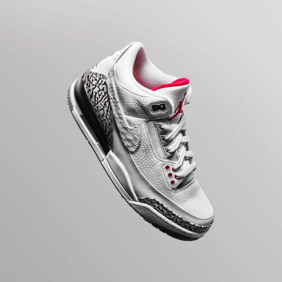 The Shoe Surgeon x Cement Air Jordan 3 Interchangeable Swoosh Custom White Python
