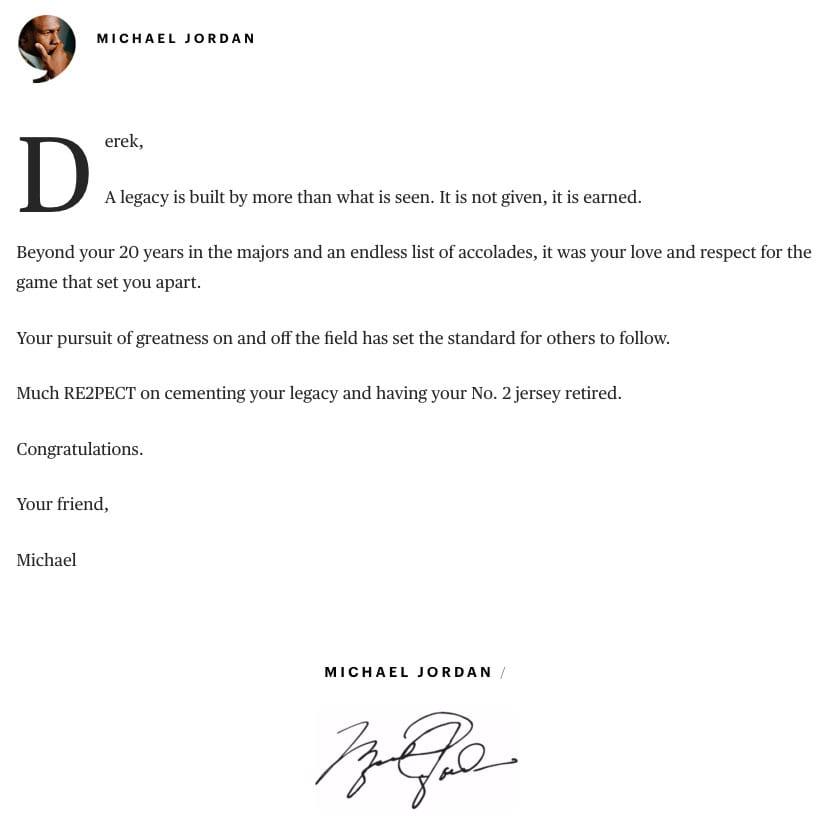 Michael Jordan Players' Tribune Letter to Derek Jeter