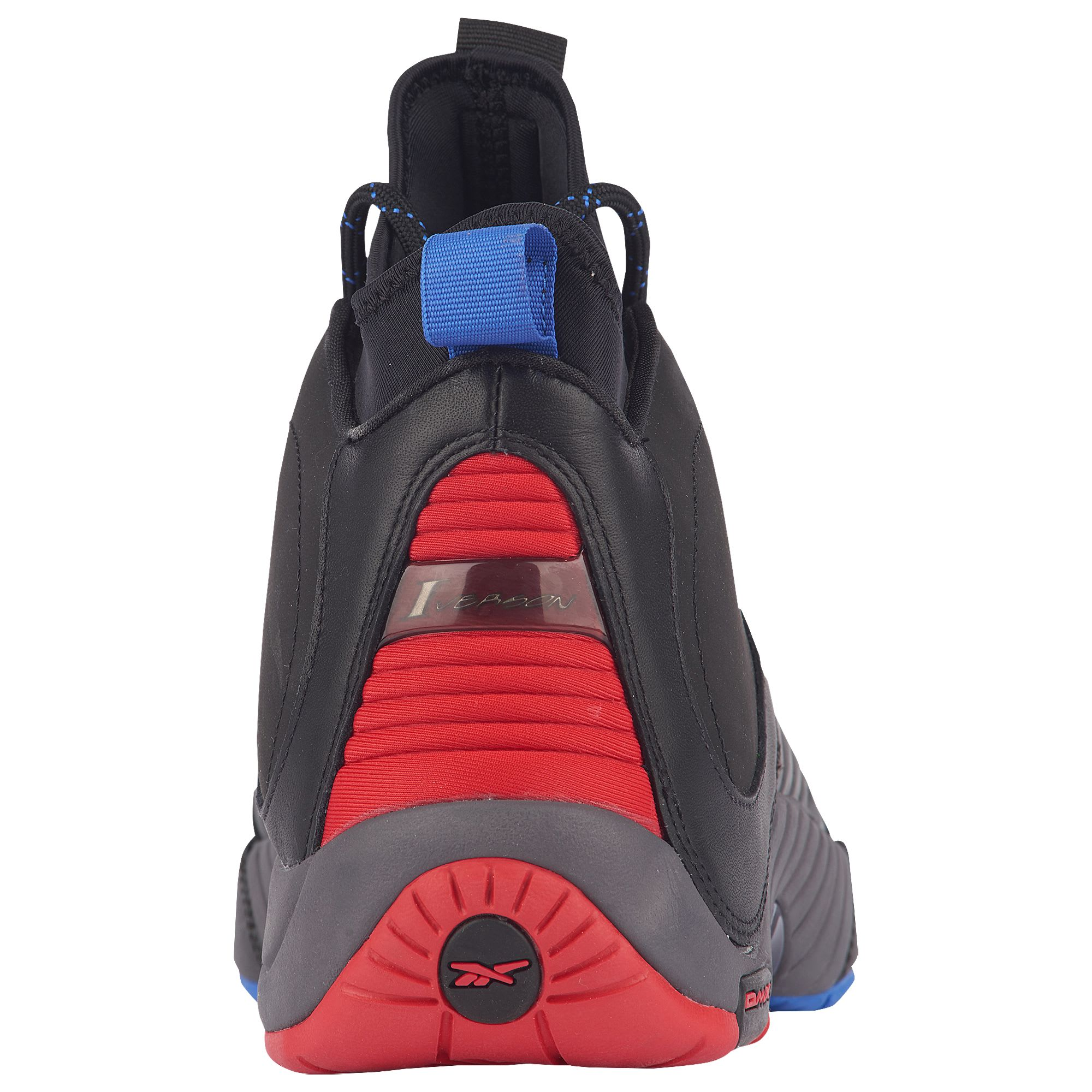 Image via Foot Locker Reebok Answer 4.5 Black Ash Grey Primal Red Vital  Blue Release Date CN5841 Heel d8aff23ec1234