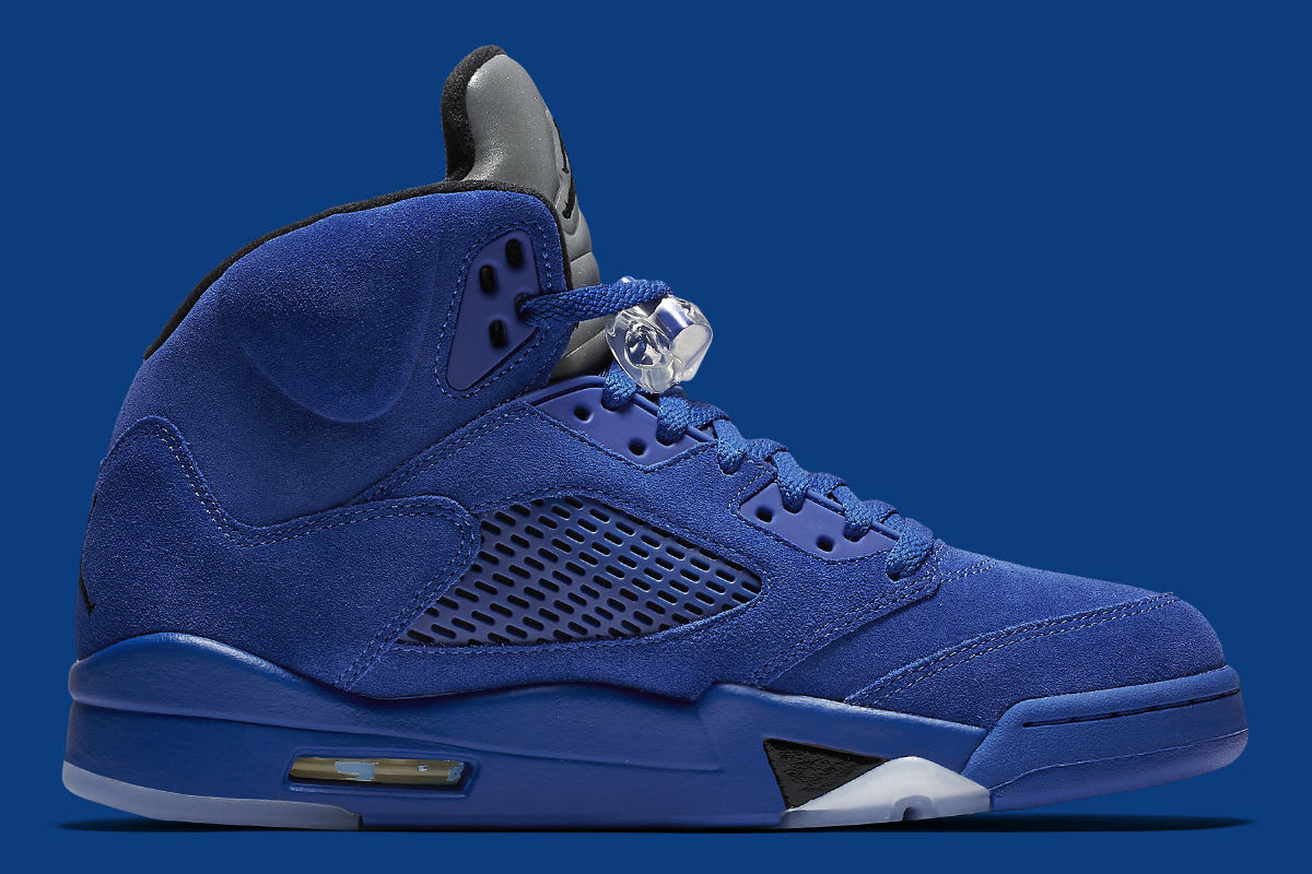 Air Jordan 5 Royal Blue Suede Flight Suit Release Date Medial 136027-401