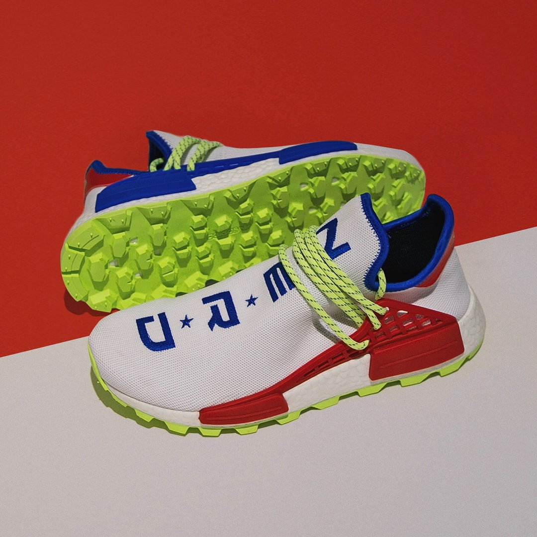 Pharrell x Adidas NMD Hu NERD White Red Blue Release Date Sole