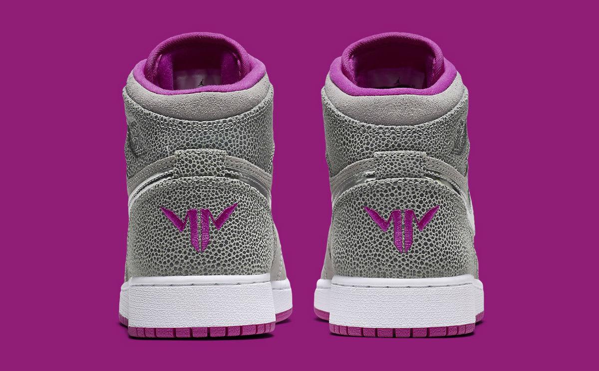 Air Jordan 1 Maya Moore Grey Silver Fuchsia Release Date Heel 332148-012