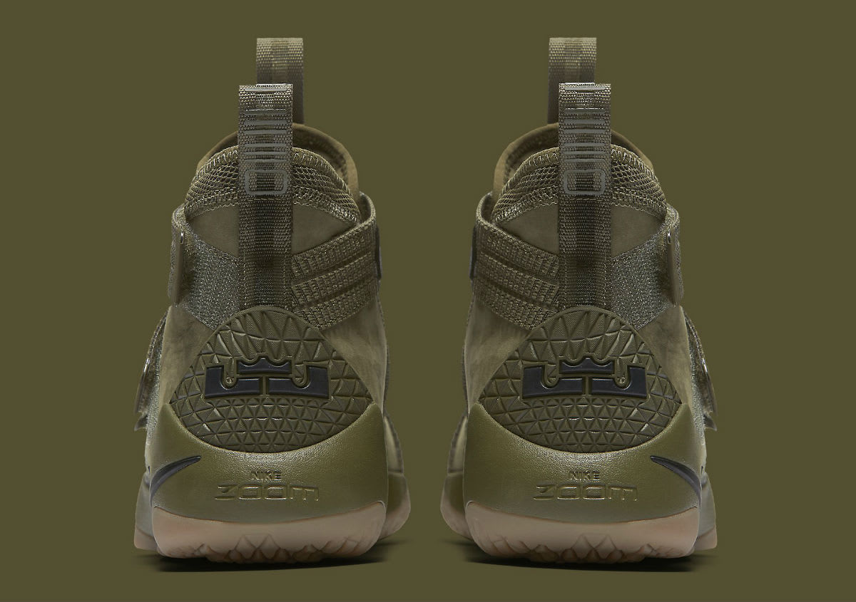Nike LeBron Soldier 11 SFG Olive Release Date Heel 897646-200
