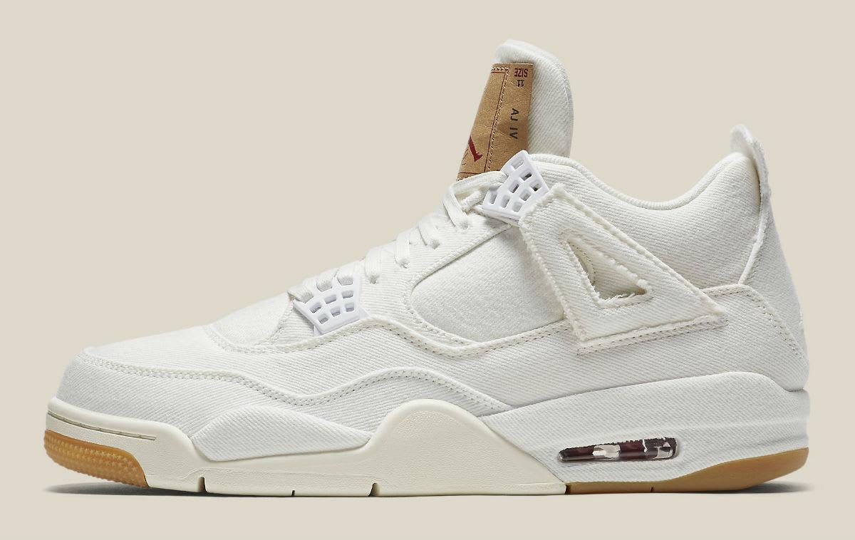Levi's x Air Jordan 4 White Demin Release Date AO2571-100 Profile