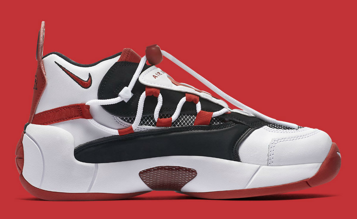 Nike Air Swoopes 2 II White Red Release Date 917592-100 Medial
