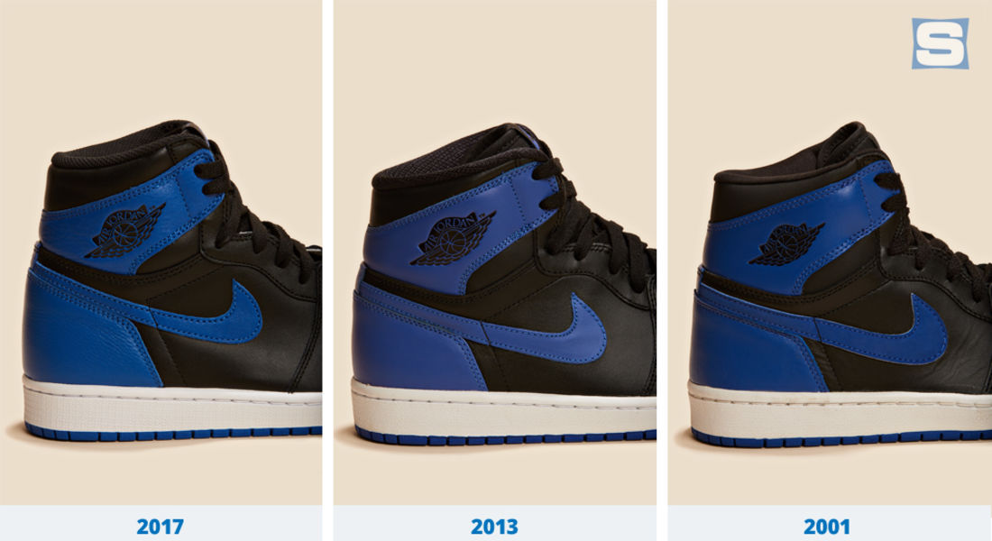 The leather is different on each pair and the shade of blue gradually got  brighter. Unlike the 2013 and 2017 releases, nubuck fills the Swoosh of the  2001 ...