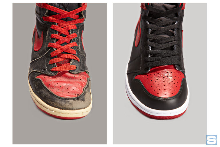79a2aeaff7da Banned Air Jordan 1 1985 vs. 2016 Comparison