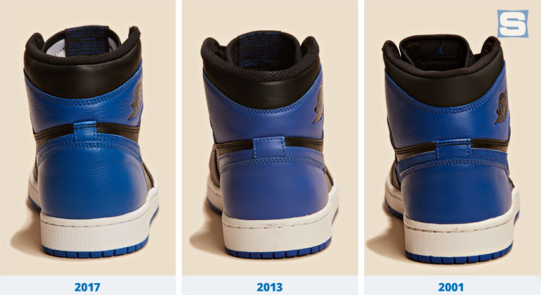 Sizing of heel tabs varies each year. There s no black stitching on the  heel tab on the 2013 pair and the tab is a bit higher on this year s retro. 362e8214e
