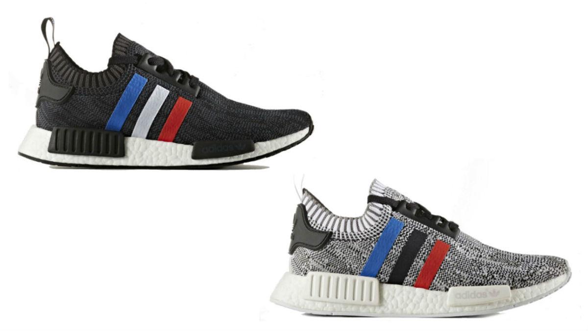 adidas nmd primeknit white blue stripes sole
