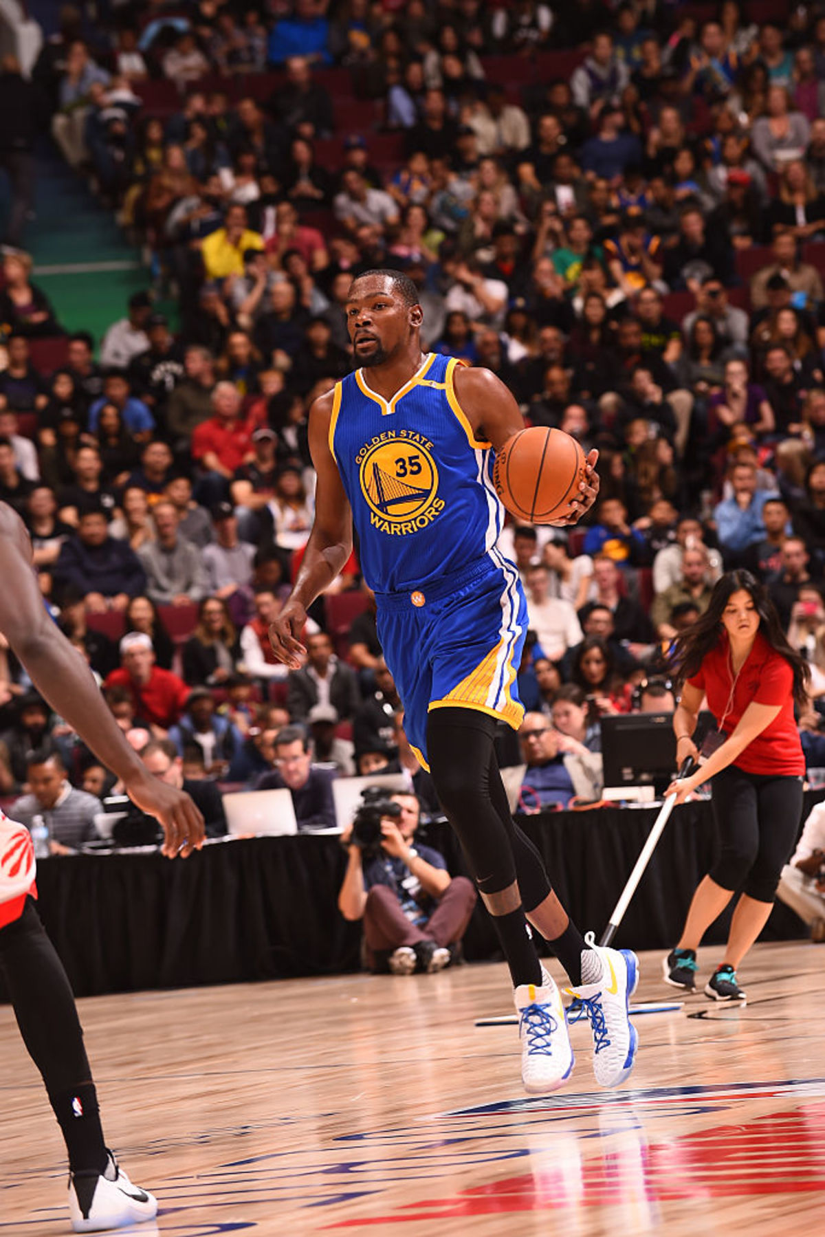 Kevin Durant Wearing A Warriors Home Nike Kd 9
