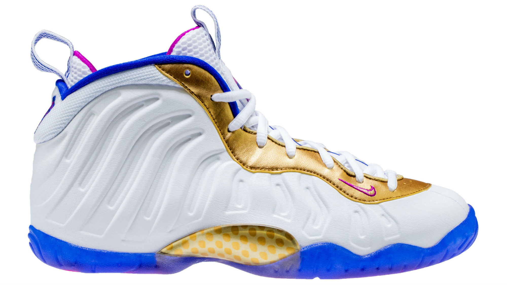 buy popular ed5f2 dece2 Nike Little Posite One White Fuchsia Blast Racer Blue Metallic Gold Release  Date 644791-103   Sole Collector
