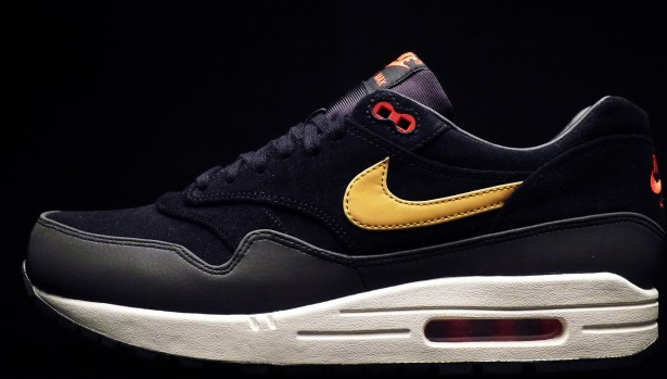Nike Air Max 1 Premium Black/Metallic Gold-Hyper Red-Sail