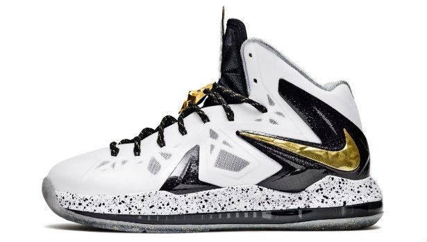 Nike LeBron X PS Elite+ White/Metallic Gold-Black