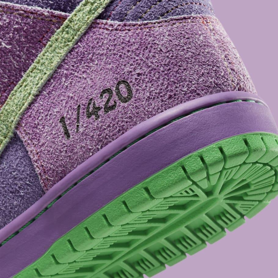 nike sb dunk high pro qs 420 purple skunk