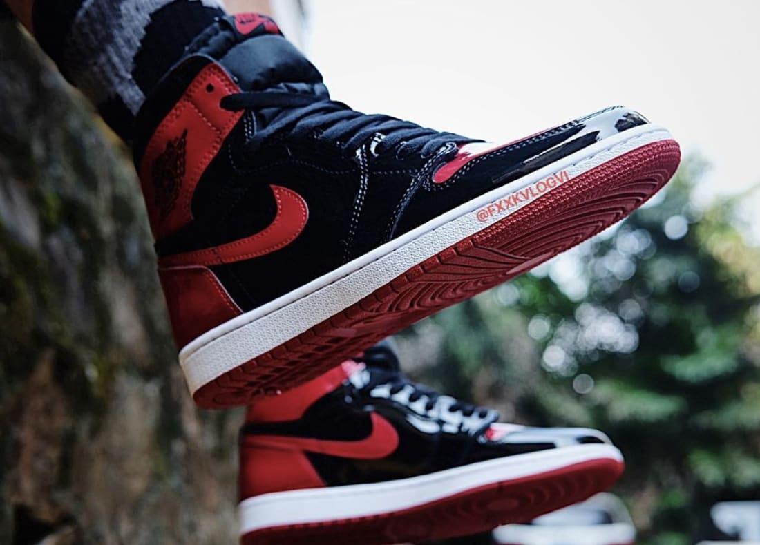 Air Jordan 1 Patent Bred Release Date On-Foot 555088-063