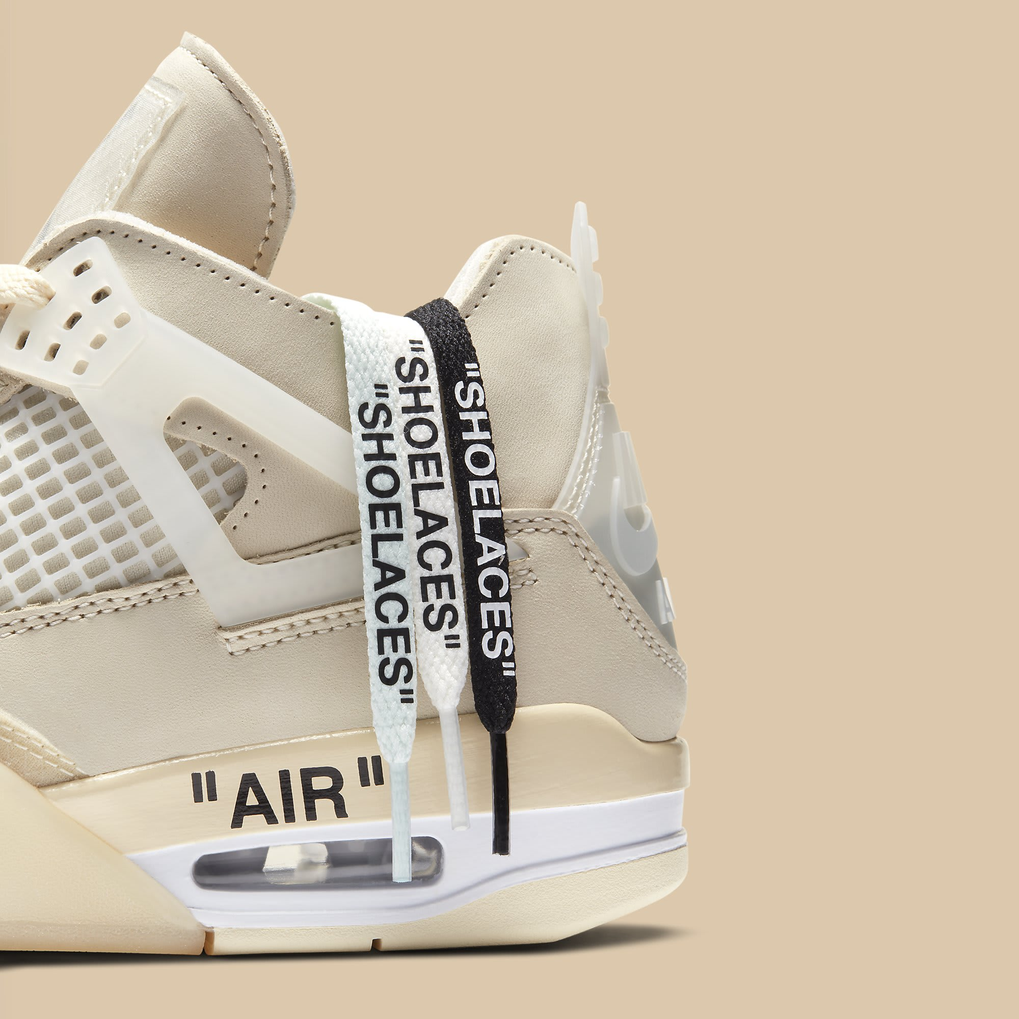 Off-White x Air Jordan 4 Sail Release Date CV9388-100 Laces