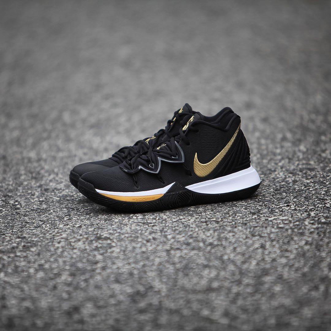 Nike Kyrie 5 Black Metallic Gold White Release Date AO2918-007 Left Side