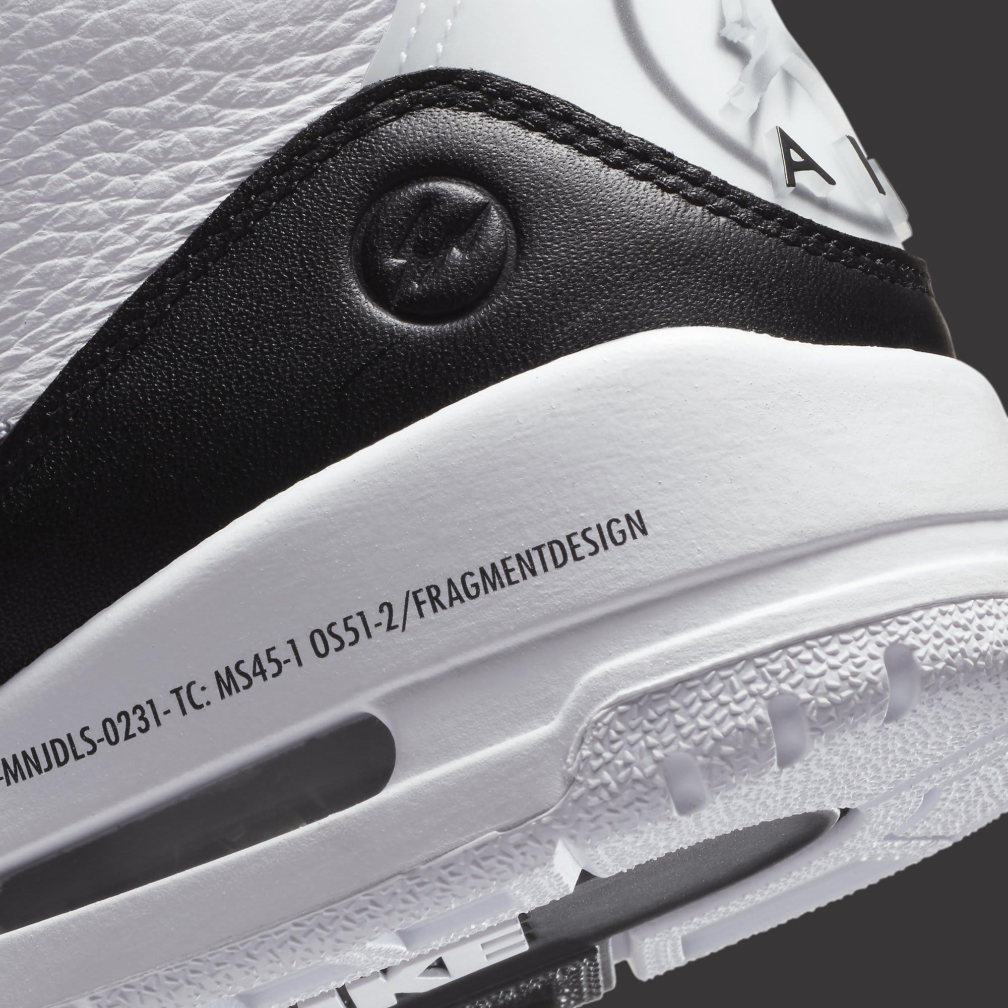 Fragment x Air Jordan 3 Release Date DA3595-100 Heel Detail