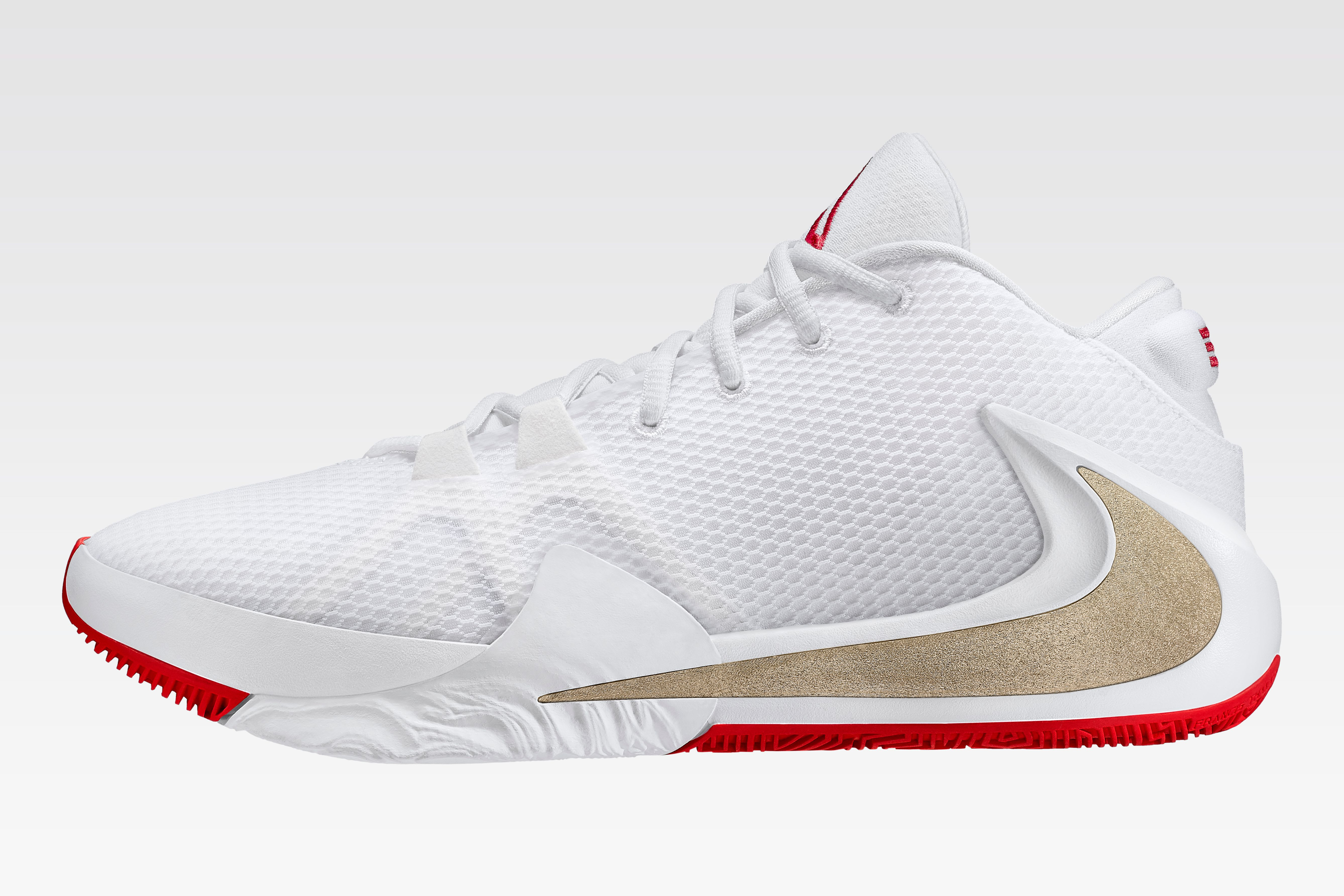 Nike Air Zoom Freak 1 (White/Gold/Red Lateral)