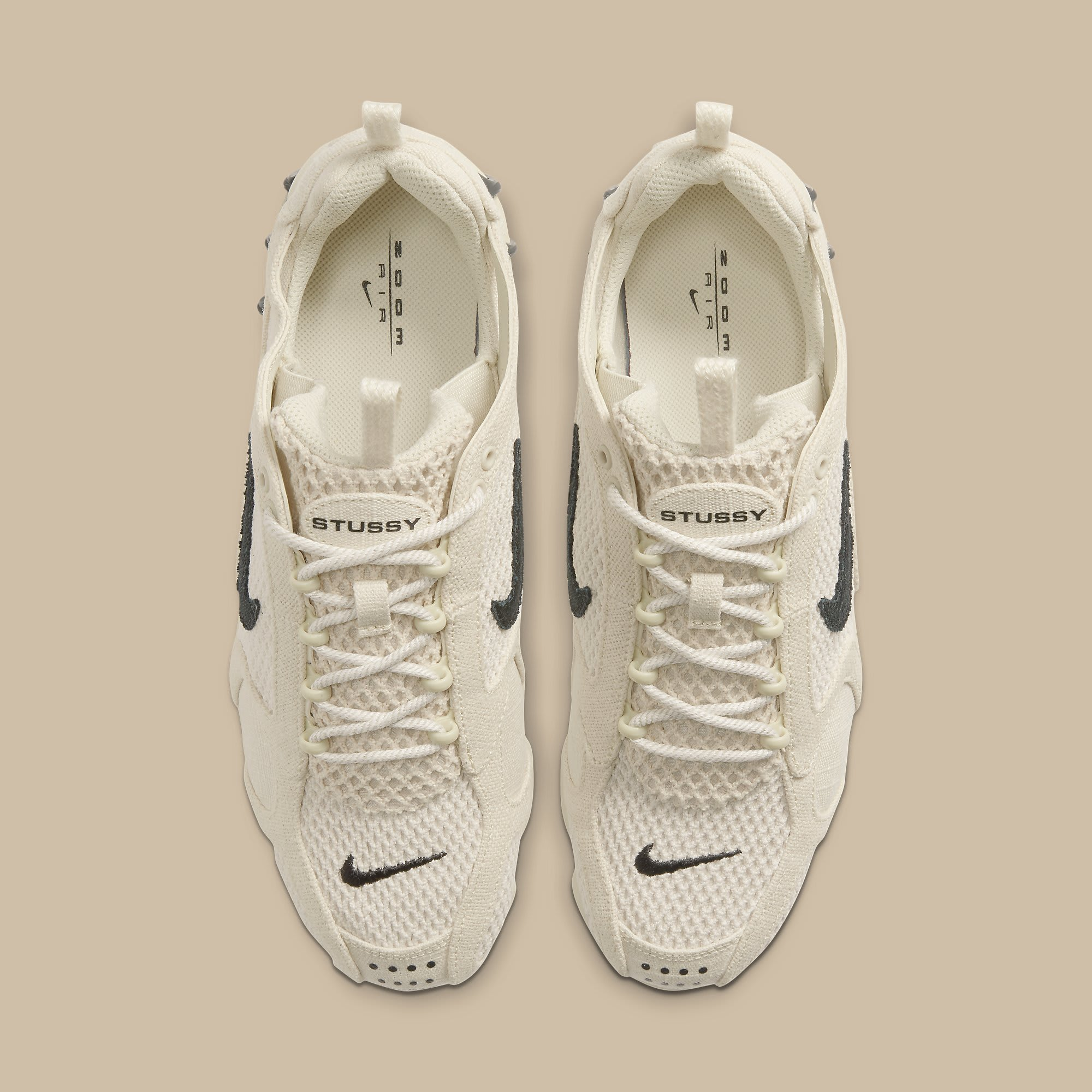 Stussy x Nike Air Zoom Spiridon 2 Caged Fossil Release Date CQ5486-200 Top