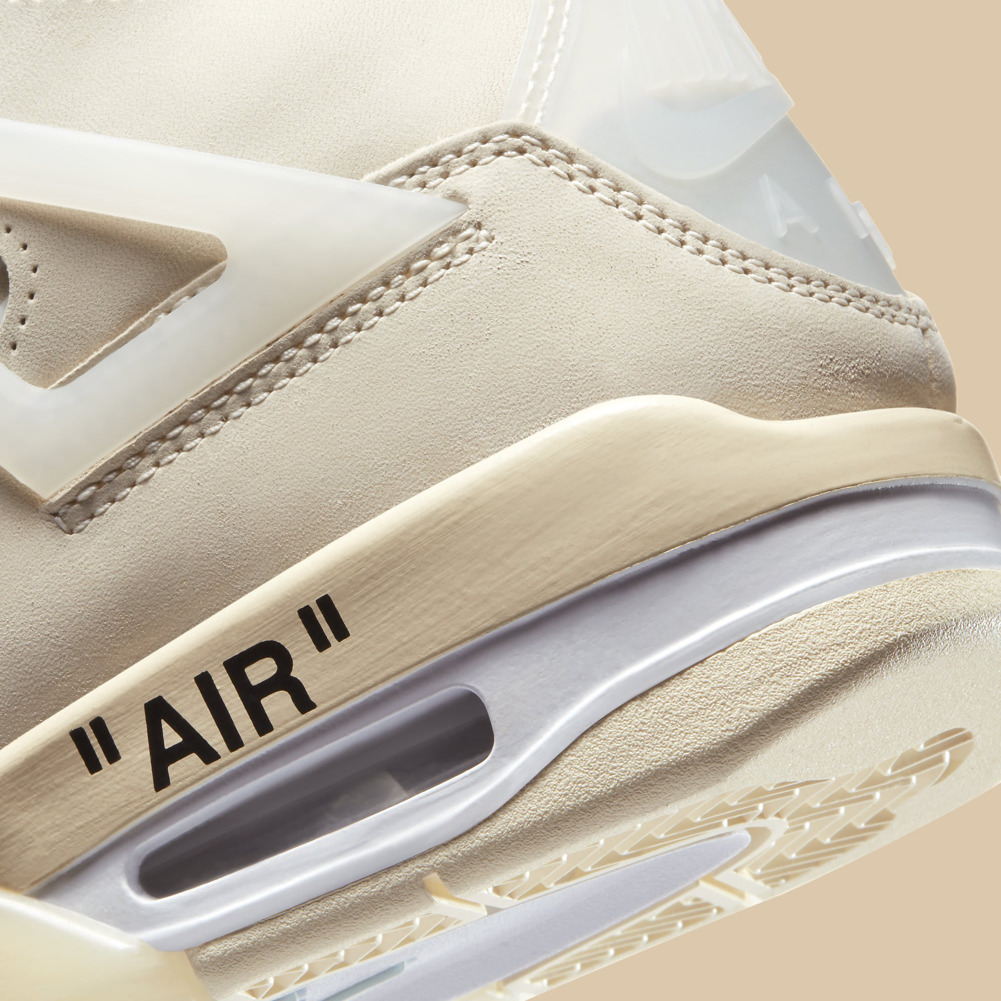 Off-White x Air Jordan 4 Sail Release Date CV9388-100 Heel Detail