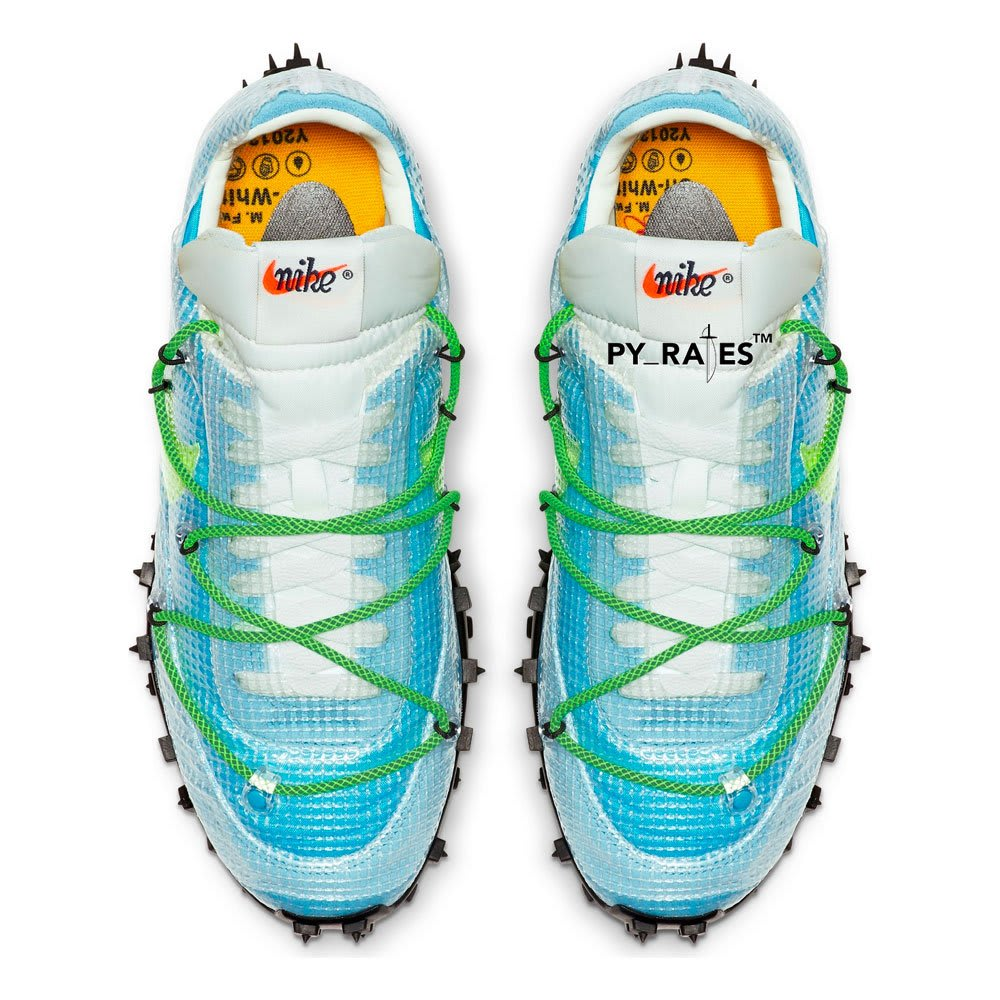 Off-White x Nike Waffle Racer W 'Vivid Sky/Electric Green' (Top)