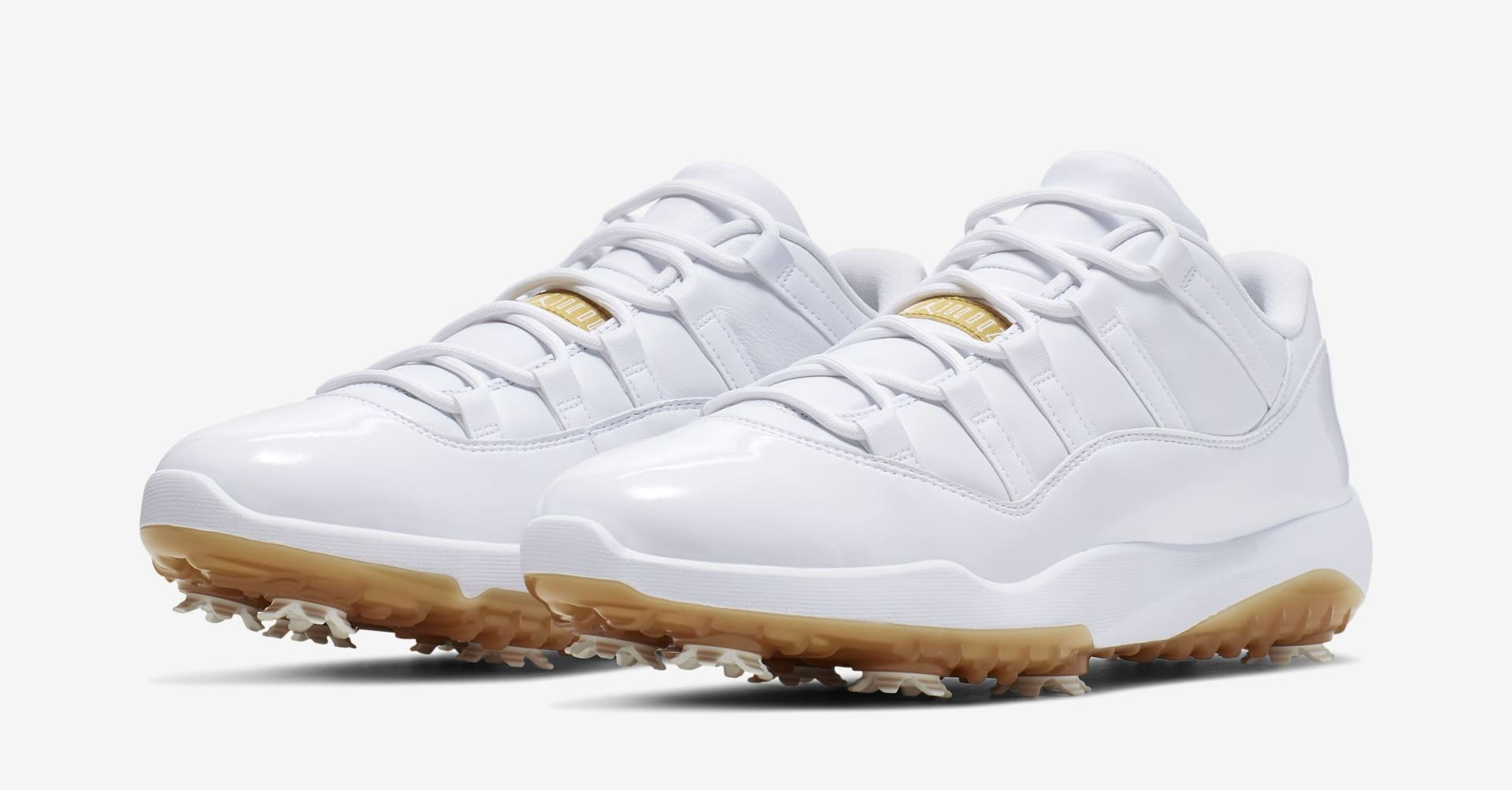 Air Jordan 11 Low Golf 'White/Metallic Gold' (Pair)