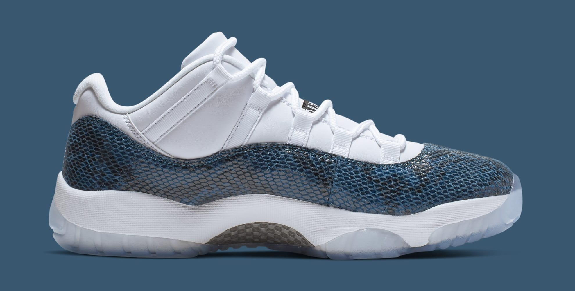 low cost d4c3e fb464 Image via Nike Air Jordan 11 Low  Blue Snakeskin  CD6846-102 (Medial)
