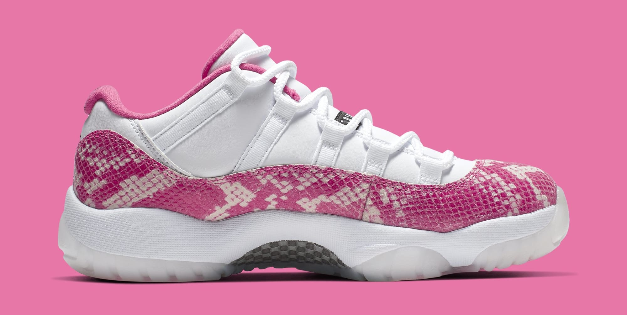 d85137100357 Image via Nike Air Jordan 11 Low  Pink Snakeskin  AH7860-106 (Medial)